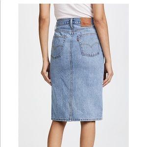 Levi's Side Slit Jean Midi Skirt